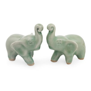 Handmade Lucky Green Elephants Celadon Ceramic Figurines, Set of 2 (Thailand)