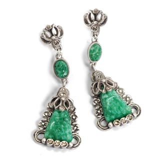 Sweet Romance Art Deco Vintage Green Jade Glass Triangle Earrings