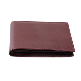 Men's Leather Wallet, 'Bengal Cordovan' (India)