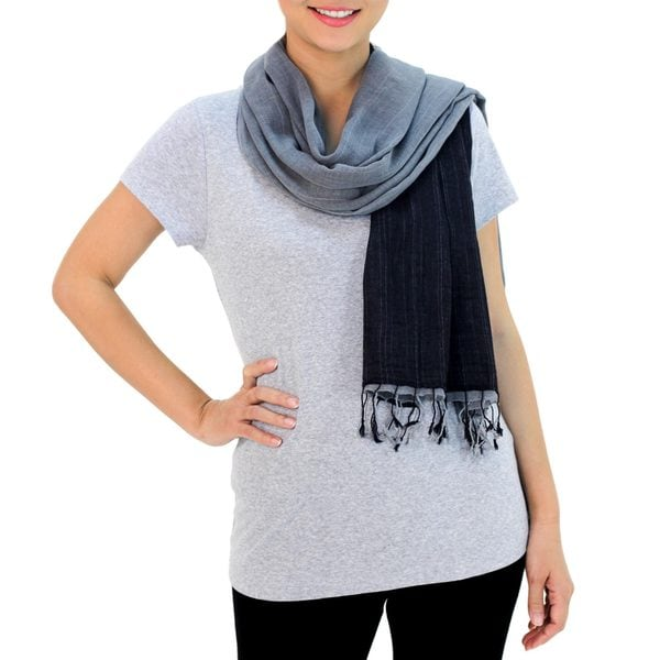 Handmade Cotton Scarf, 'Grey and Black Duo' (Thailand). Opens flyout.