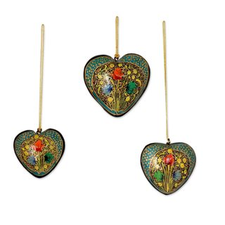 Handmade Set of 3 Papier Mache Ornaments, 'Floral Heart' (India)