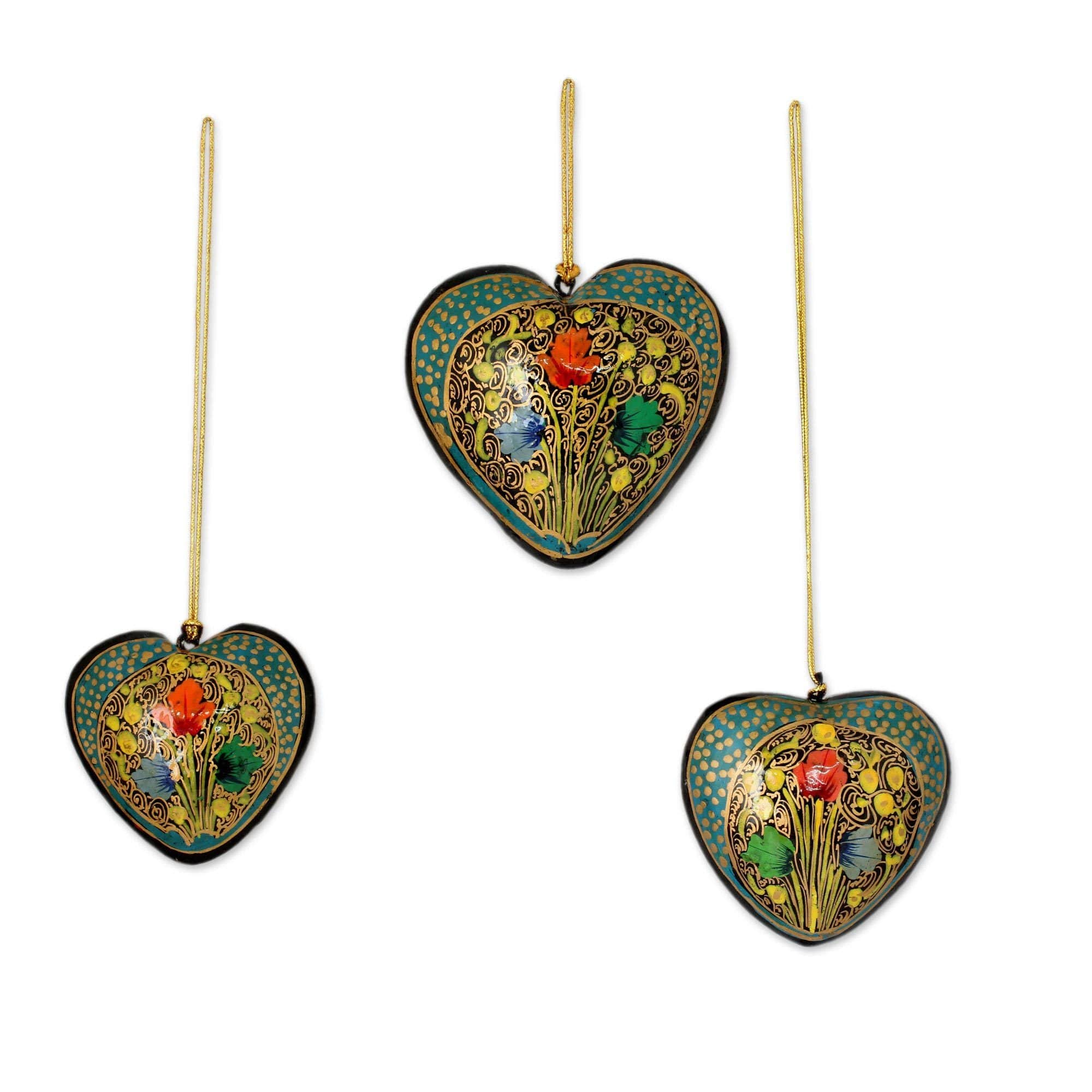 Handmade Set Of 3 Papier Mache Ornaments, Floral Heart