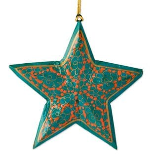 Set of 4 Wood Christmas Ornaments, 'Starry Sky' (India)