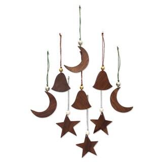 Set of 9 Wood Ornaments, 'Nagina Celebration' (India)