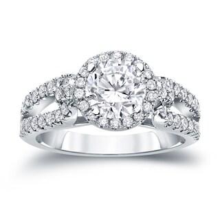 Auriya 14k Gold 1ct TDW Round Cut Diamond Halo Engagement Ring (H-I, SI1-SI2)