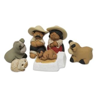 Handmade Ceramic 7-piece Nativity Scene, 'Characato Born' (Peru)