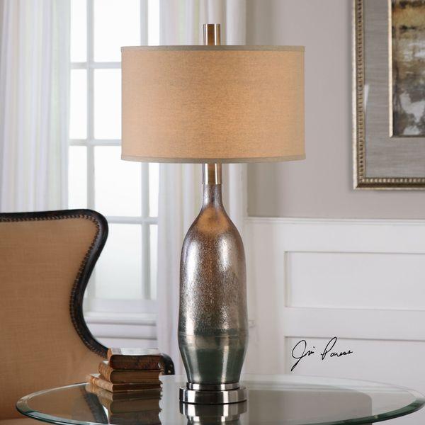Uttermost Basola Olive Gray Glass Table Lamp