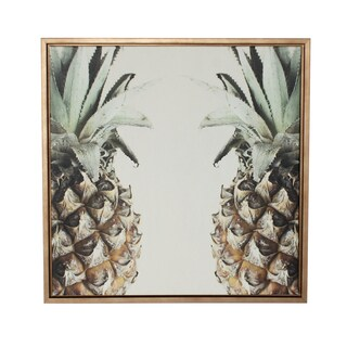 Designovation Pineapple Gold Framed Canvas Wall Art