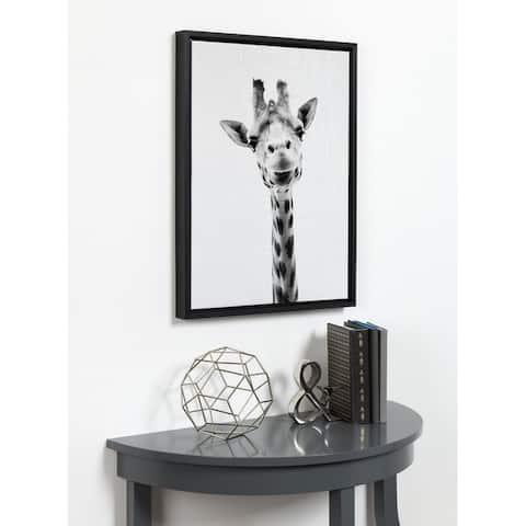 Kate and Laurel Sylvie Giraffe Framed Canvas by Simon Te Tai - 18x24