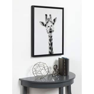 DesignOvation Simon Te Tai 'Giraffe Portrait' Black/White Framed Canvas Wall Art|https://ak1.ostkcdn.com/images/products/13573499/P20248150.jpg?impolicy=medium