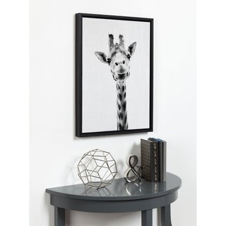 DesignOvation Simon Te Tai 'Giraffe Portrait' Black/White Framed Canvas Wall Art