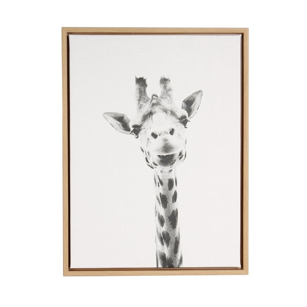 DesignOvation Simon Te Tai Giraffe Portrait BlackWhite