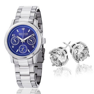 SO&CO New York Women's Silvertone Stainless Steel Watch With Crystal Stud Earings