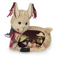 Handmade Ceramic Nativity Scene, 'Llama Love' (Peru)