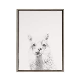 DesignOvation Simon Te 'Alpaca Portrait' Black and White Framed Canvas Wall Art|https://ak1.ostkcdn.com/images/products/13573579/P20248151.jpg?impolicy=medium