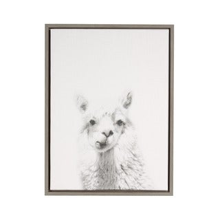 DesignOvation Simon Te 'Alpaca Portrait' Black and White Framed Canvas Wall Art