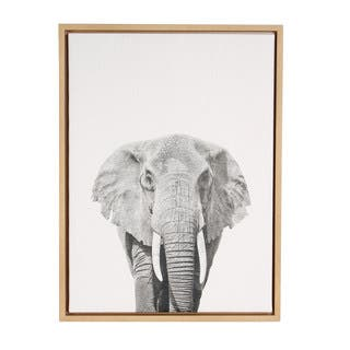Simon Te 'Elephant Portrait' Black and White Framed Canvas Wall Art