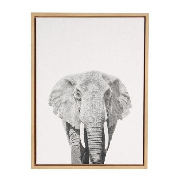 Shop Simon Te \'Elephant Portrait\' Black and White Framed Canvas Wall ...