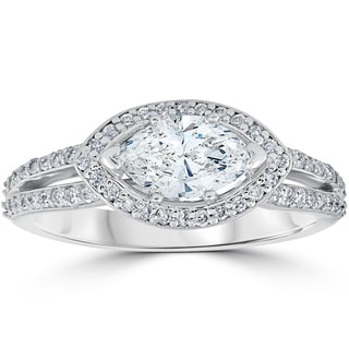 14K White Gold 1 3/8 ct TDW Sideways Marquise Enhanced Diamond Halo Engagement Ring