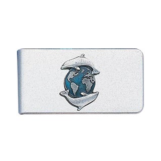 Siskiyou Dolphins and Earth Sculpted Stainless Steel Money Clip
