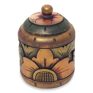 Handmade Decorative Wood Box, 'Garden Treasure' (Indonesia)