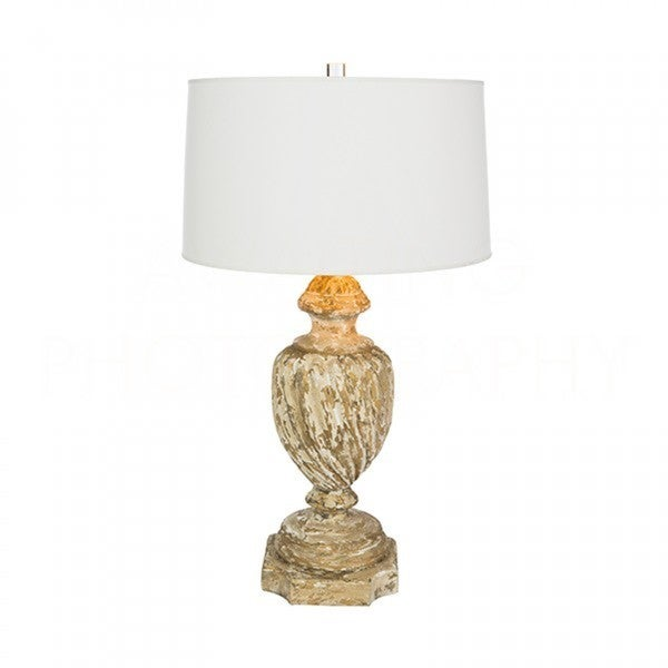 Aidan Grey Helette Gold/Off-white Wood Distressed Base Table Lamp
