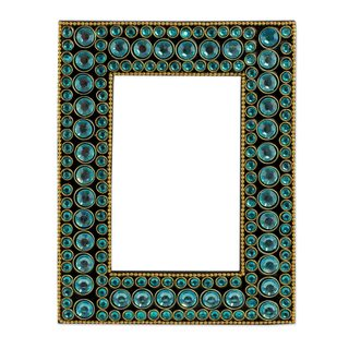 Handmade Bejeweled 4X6 Photo Frame, 'Aqua Glitz' (India)