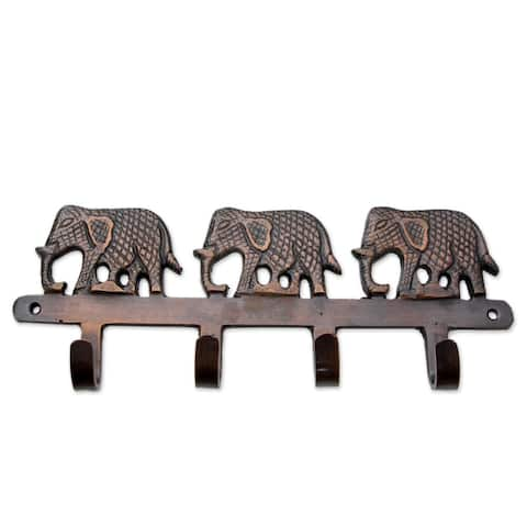 Handmade Brass Key Holder, 'Adventurous Elephants' (India)