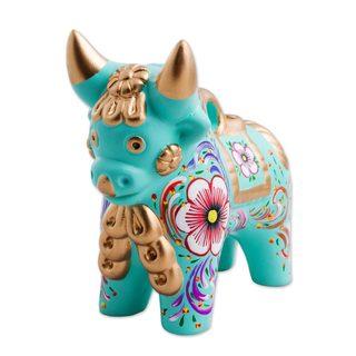 Ceramic Figurine, 'Aqua Pucara Bull' (Peru)