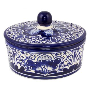 Ceramic Covered Serving Bowl, 'Blue Guanajuato' (Mexico)