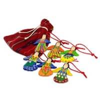 Handmade Set of 6 Ceramic Ornaments, 'Happy Angels' (Guatemala)