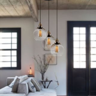 Lupilla 3-light Pendant Mixed Black and Bronze Metal with Glass Shades with Included Edison Bulbs