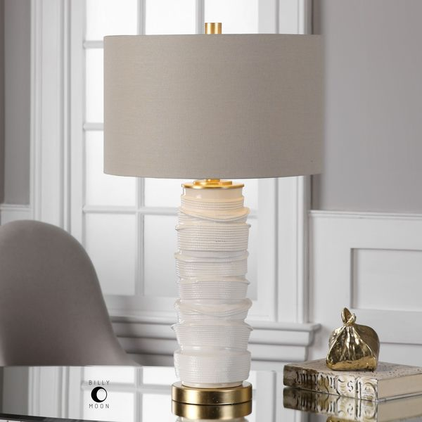 Uttermost Codru Gloss White Ceramic Lamp