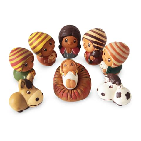 Handmade Lil Nativity Ceramic Nativity Scene, Set of 9 (Peru)