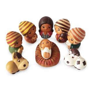 Ceramic 9-piece Nativity Scene, 'L'il Nativity' (Peru)