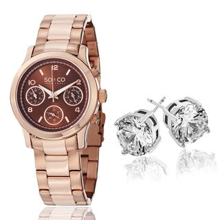 SO&CO New York Women's Rose-tone with Crystal Stud Earirngs Mothers Day Gift Watch Set