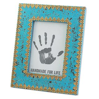 Wood 5X7 Photo Frame, 'Delightful Blue' (India)