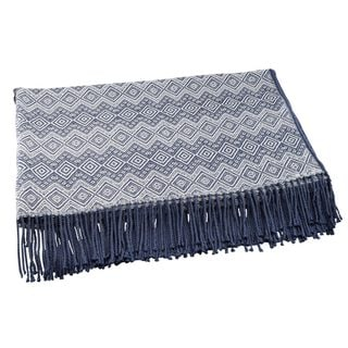 Throw Blanket, 'Prussian Blue Destiny' (Peru)