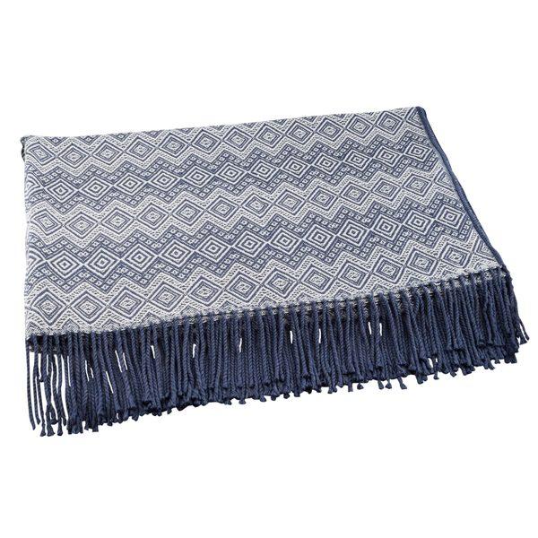 Throw Blanket, 'Prussian Blue Destiny' (Peru)