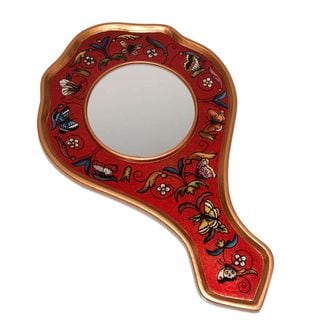 Handmade Reverse Painted Glass Hand Mirror, 'Scarlet Butterflies' (Peru)