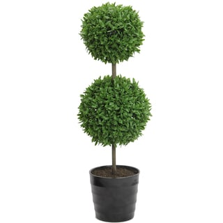 18-inch Tall Artificial Tabletop English Boxwood Double Ball Shaped Topiary Plant in Plastic Pot, Green