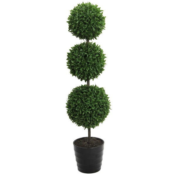23-inch Potted Triple Ball Faux Tabletop English Boxwood, Green
