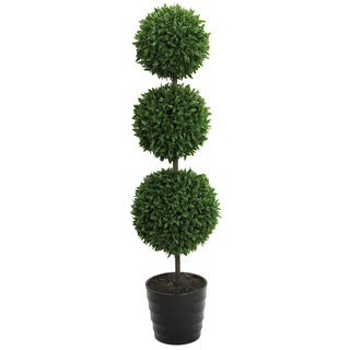 23-inch Tall Artificial Tabletop English Boxwood Triple Ball Shaped Topiary Plant in Plastic Pot, Green
