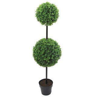 46-inch Tall Artificial Boxwood Double Ball Shaped Topiary Plant Tree in Plastic Pot, Green