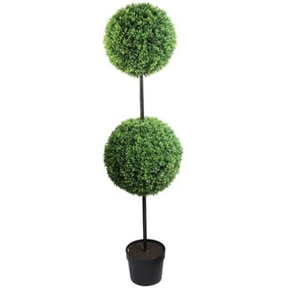 58-inch Tall Artificial Boxwood Double Ball Shaped Topiary Plant Tree in Plastic Pot, Green