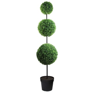 66-inch Tall Artificial Boxwood Triple Ball Shaped Topiary Plant Tree in Plastic Pot, Green
