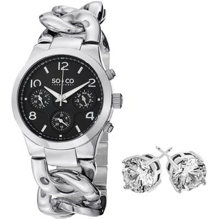 SO&CO New York Stainless Steel Women's with Crystal Stud Earrings Gift Mothers Day Gift Watch Set
