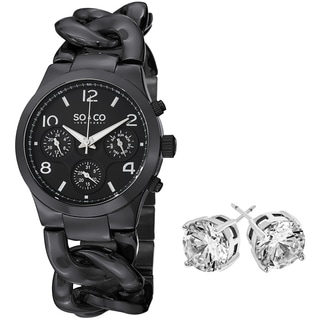 So&Co New York Gift With Purchase Women's Black Watch With Crystal Stud Earings