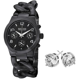 SO&CO New York Women's Black Bracelet with Crystal Stud Earrings Mothers Day Gift Watch Set