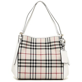 Burberry 'Canterbury' White Leather-Trimmed House Check Tote Handbag